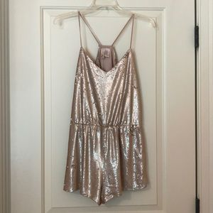 Gold sequin romper. Never worn. champagne gold